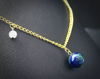 Gemstone Earth and Moon Necklace - Gold