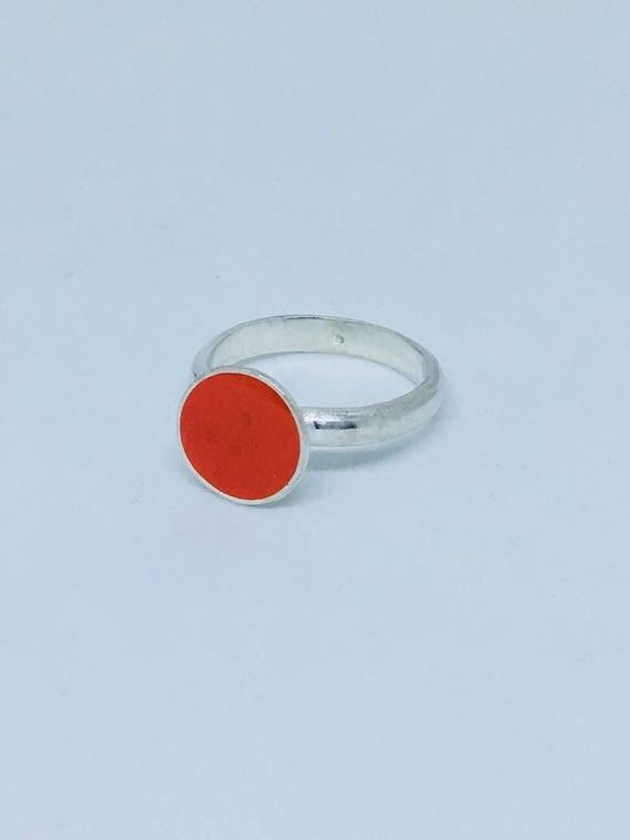 Sterling silver orange resin stacking ring