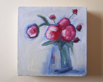 Flower Painting Oil Paint Still Life Red Blooms Pink Floral Art Original Canvas Cream Background Painterly Loose Brush Broad Vase Domestic