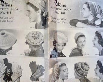 vintage 1950's Patons knitting patterns ~ berets hats beanies knitting patterns