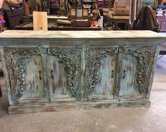 Antique Blue Sideboard Cabinet Media TV Console Distressed wOOD Hand Carved Farmhouse Rustic Decor