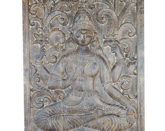 Zen Altar Vintage Carved Vishnu hindu god the preserver, Yoga , Puja ROOM, Panel Zen Decor FREE SHIP