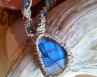 Labradorite macrame hemp necklace