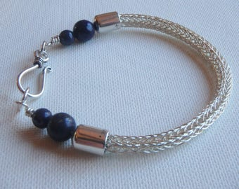Viking Knit double weave Sterling Silver Bracelet with Lapis Lazuli beads handmade