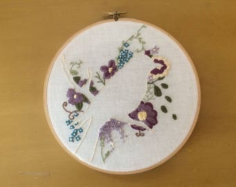 Purple Floral Bird Silhouette- Hand Embroidered Hoop Art