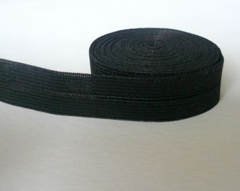 Black foldover elastic. Satin semi sheen. 15mm wide.