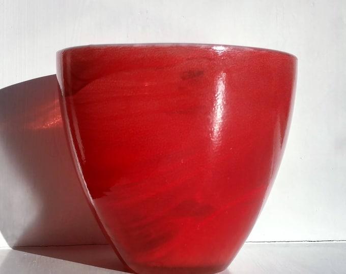 Swedish Modern Red Glass Candy Votive Candle Holder Sea Glasbruk Vintage