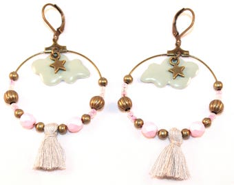 Large hoop earrings gray and pale pink, gray clouds, stars and tassels
