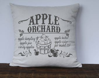 Farmhouse Fall Pillow Cover, Apple Orchard Pillow Cover, Fall Decor, Decorative Couch Pillow Cover,