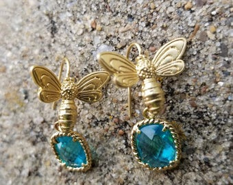 Gold Plated Honey Bee and Blue Faceted Zircon Drop Earrings