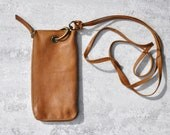 Travel Pouch, Handmade Leather Case, Hip Bag, Crossbody Phone Purse, Cell Phone Wallet