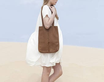 Sale, Handmade Leather Tote Bag, Tote with Laser Cut Detail, Brown Shoulder Bag, Casual Bag Perfect Gift, Laptop Bag - Brown Kenton