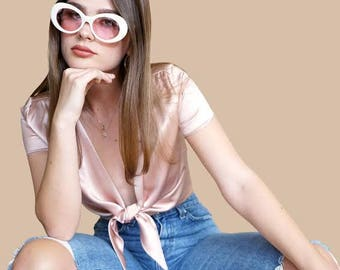 RETRO SUNGLASSES | Fresh White Oval Framed Sunglasses | Grey Lense | Give You That Groovy Look