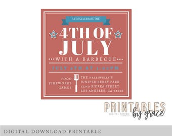 DIGITAL INVITATION custom 4th of July Independence Day Fireworks fourth PDF invite printable download Party