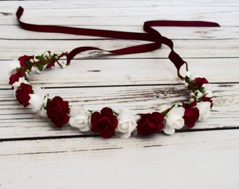 Handcrafted White and Burgundy Flower Crown - Wine Flower Hair Wreath - Rose Flower Crown - Burgundy Wedding Accessory - Fall Flower Crown