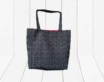 Eco Friendly Reusable Shopping Bag Reversible Black and Tan Tote with Pink Lining