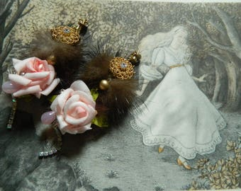 roses earrings, fur earrings, embroidered earrings