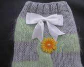 Chihuahua dog clothes, dog jumper,   small dog coat in Grey Acrylic  and Luxury Mint  Green mohair  LENGTH 9  inches size SMALL