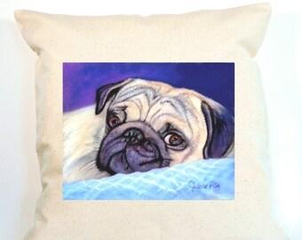 Pug Pillow, Pug Decor, Personalized Pug Gift