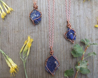 raw rough natural azurite druzy cluster crystal wire wrapped in pure copper pendant necklace with adjustable leather chord or copper chain