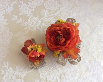 Fall corsage and matching boutonnière