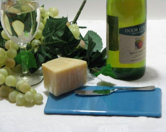 Mariner Blue 4X8 Fused Glass Cheese Tray