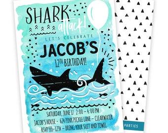 Shark Invitation, Shark Party, Shark Birthday Invitation, Shark Birthday, Shark Birthday Party, Shark Party Invite, Shark Invite | 624
