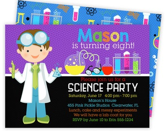 Science Invitation, Science Invite, Science Birthday, Science Party, Mad Science Party, Kids Science Birthday, Scientist Birthday   455