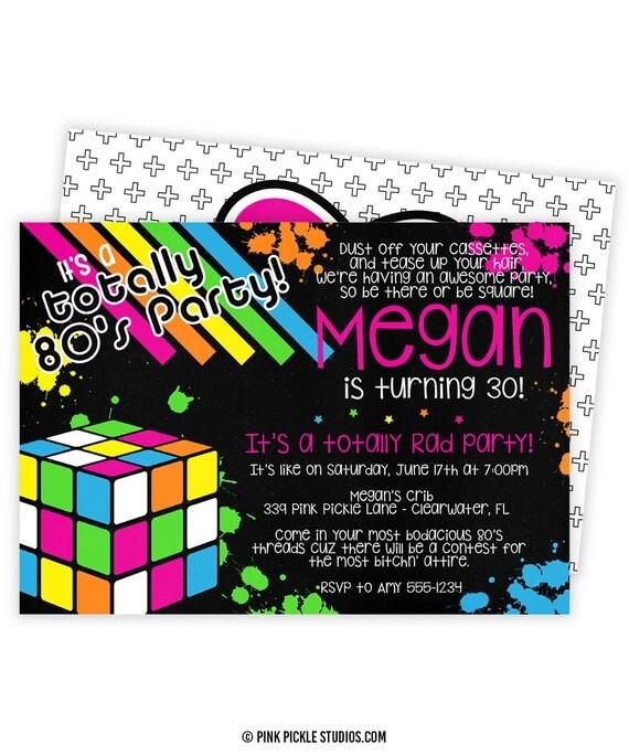 80s invitation 80s party 80s birthday invitations 80s. Black Bedroom Furniture Sets. Home Design Ideas
