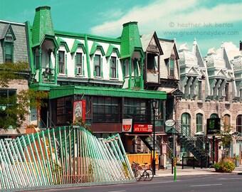 Montreal St-Denis Street La Vague The wave - Wall Decor - Fine Art Photography Print - Urban Contemporary, Building Architecture, Green