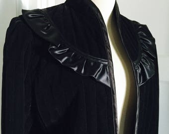 1970's Vintage Quilted Victorian Steam Punk Style Black Velvet Jacket Coat Fully Lined with Silk Ruffle and Edging Detail Small Medium Large