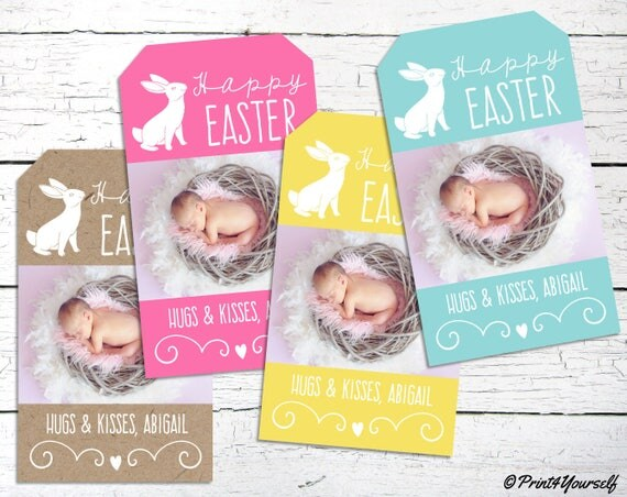 Personalized easter tags printable easter photo tags easter il570xn negle Images