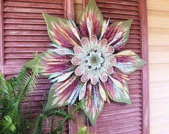 Floral Wall Sculpture, Lobby Art, Corporate Office Art, Office Art, Rustic Wall Decor, Wood Wall Art, Metal Wall Art, Office Wall Art
