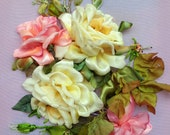 """Wall handing art, embroidery picture """"roses"""" Silk ribbon embroidery, ribbon work, ribbon roses, embroidery art gift for her   roses"""