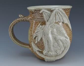 Perched Gargoyle Clay Drinking Mug