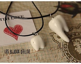 Teeth Necklace White Teeth Pendant Necklace Teetch Earrings (C071-BO07) - Ceramic Bead