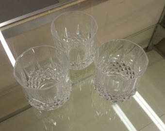 On Sale Clear Set of 3 Indiana  or Wexford Glass Diamond Point Scotch Glasses Lead Crystal