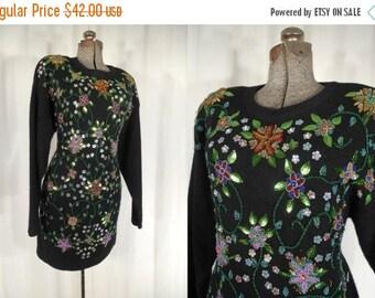 Vintage 1980s Dress - Large Black 80s Beaded Sweater Dress