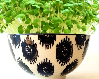 DIY Microgreens Garden Kit in Modern Black and White Ikat Tribal Pattern Rice Bowl - Ceramic Planter Organic Seeds Soil Mix