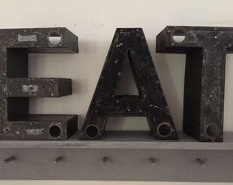Set 3 Vintage Marquee Letters, Metal, Channel Letters, Industrial Decor, EAT, Industrial Letters, large, free standing, black, Reclaimed