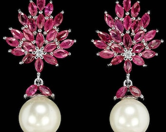 4ctw Ruby with 10 mm Japanese Pearl Dangle Earrings