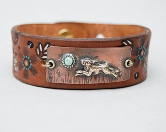 Distressed Leather & Copper Bracelet . Running Rabbit. Boho. South Western Design. Cowgirl . Bracelet. Boho . By Nin and Bumm