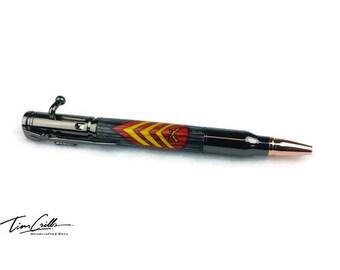 30 Cal Bolt Action Gun Metal Ballpoint Pen w/ Laser Inlay USMC Sergeant (Sgt)