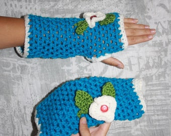 Blue fingerless gloves crochet embroidery flowers