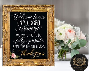 "Unplugged Ceremony (4 STYLES in 8""x10"" & 11""x14"") DIGITAL PRINT • Unplugged Wedding Chalkboard Sign"