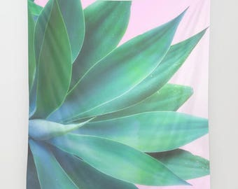 Agave wall tapestry, cactus wall tapestry, southwestern wall decor, desert wall decor, agave art, dorm decor, dorm wall tapestry, pink decor