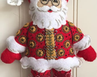 Finished Mary Engelbreit Santa Ornament