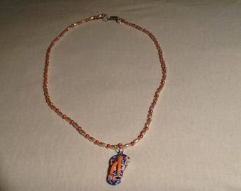 Handmade Orange &  Ivory White seed bead necklace and Flip Flop Necklace.