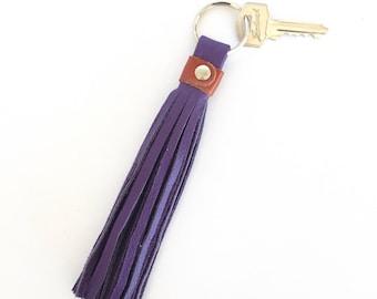 Freya Leather Tassel Key Ring:  Purple and Rust