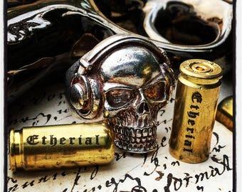 Etherial Sterling Silver Skull Ring Skull Ring King Skull Ring Dee Jay Skull Ring DJ Skull Ring Baby King Skull Ring Headphones Skull Ring